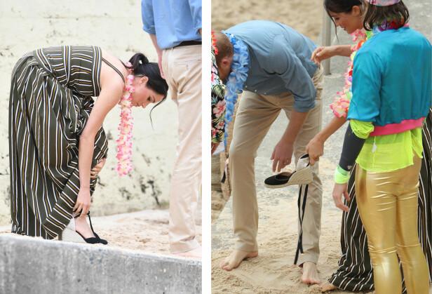 KASTET SKOENE: Gravide hertuginne Meghan valgte å kaste espadrilloene for å gå barbeint i sanden på Bondi Beach i Australia denne høsten - og det samme gjorde ektemannen prins Harry! FOTO: NTB Scanpix