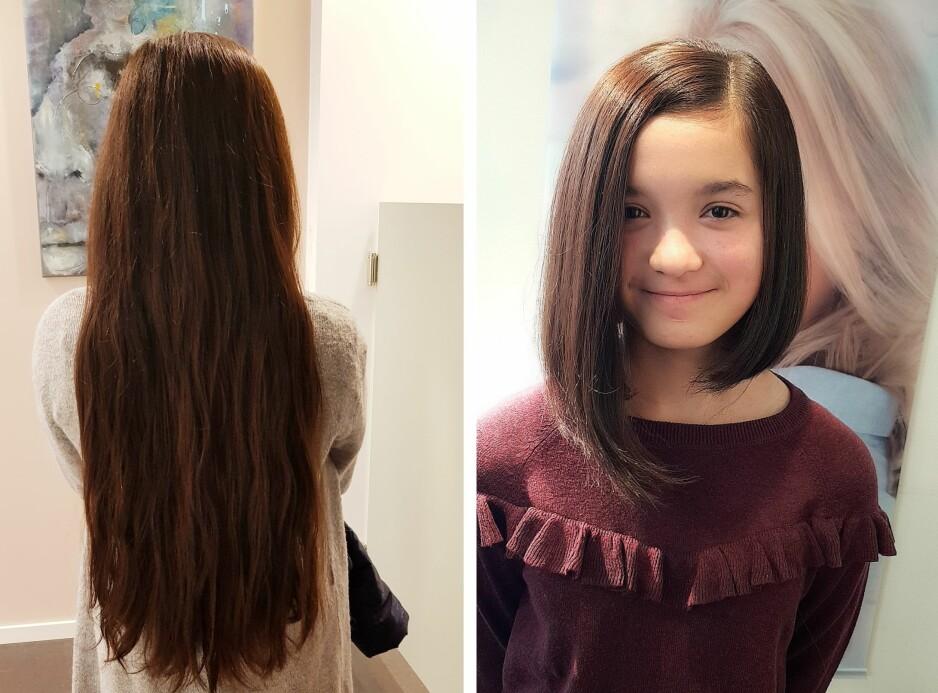 HÅRDONASJON: Tretten år gamle Muazzam sparte håret sitt i tre år før hun klipte det for en god sak. Nå skal hun spare i tre nye år! FOTO: Privat