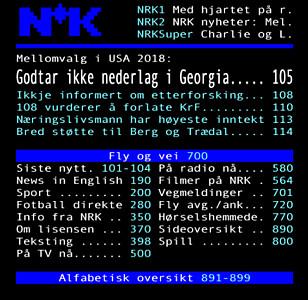UFORANDRET: Slik ser altså tekst-tv ut for deg som aldri har dristet deg inn dit. Og slik har NRKs tekst-tv stort sett vært helt siden 1983. FOTO: Skjermdump