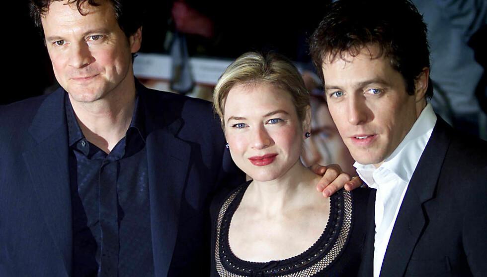 TIDLØS TROJKA?: Colin Firth spilte den staute Mark Darcy, mens Renee Zellweger leverte tittelrollen som Bridget. Hugh Grant dånet henne lenge i senk, i rollen som sleske Daniel Cleaver.