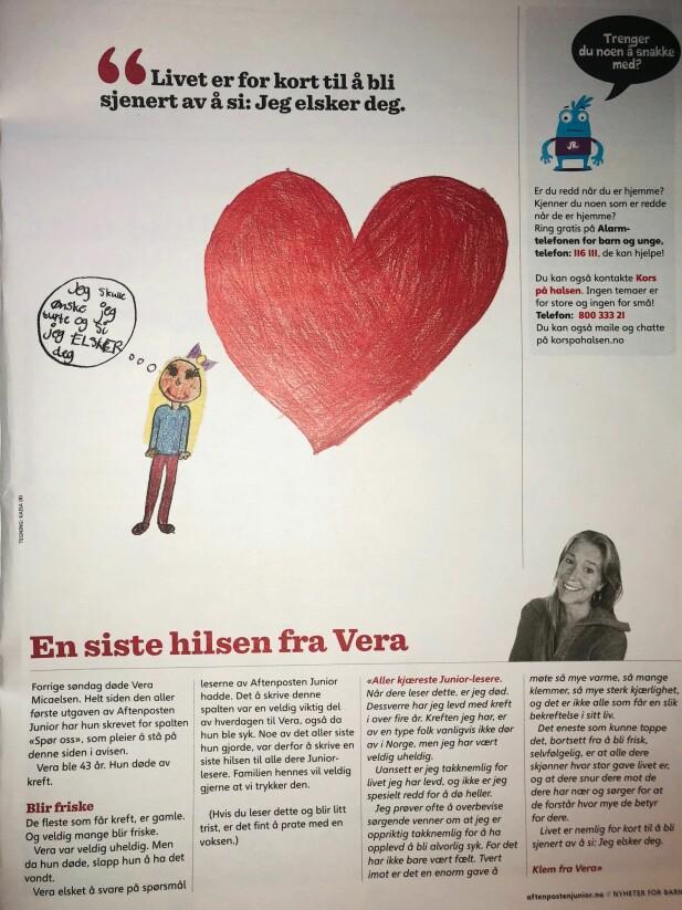 EN SISTE HILSEN: Aftenposten Junior har publisert Vera Micaelsens siste hilsen. Hun døde av kreft, 43 år gammel. FOTO: KK