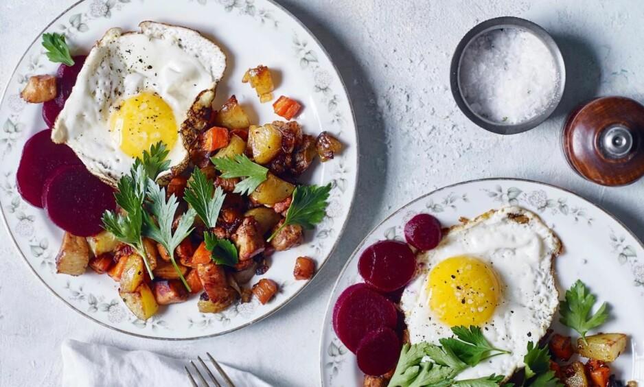 PYTT I PANNE: Denne middagen er perfekt for deg som har litt dårlig tid. FOTO: Nina Malling