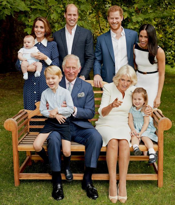 FAMILIEN ANNO 2018: I anledning prins Charles' 70-årsdag den 14. november 2018, delte Kensington Palace dette sjarmerende familiebildet tatt av fotograf Chris Jackson. FOTO: NTB Scanpix