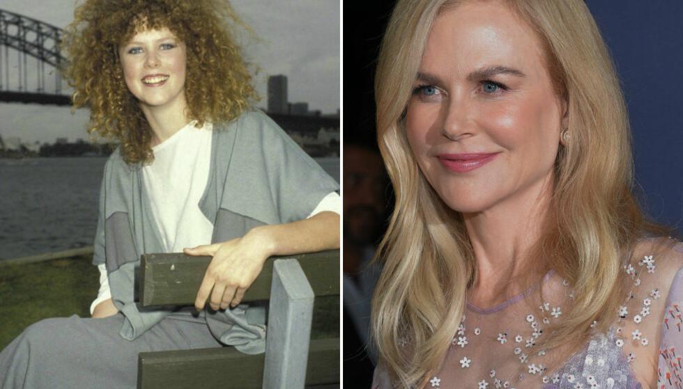 UGJENKJENNELIG: Bildet til venstre er fra en photoshoot Nicole gjorde i 1983 i forbindelse med filmen «BMX Bandits». Bildet til høyre er fra en premiere tidligere i år. FOTO: Instagram (@TheEllenShow), Scanpix
