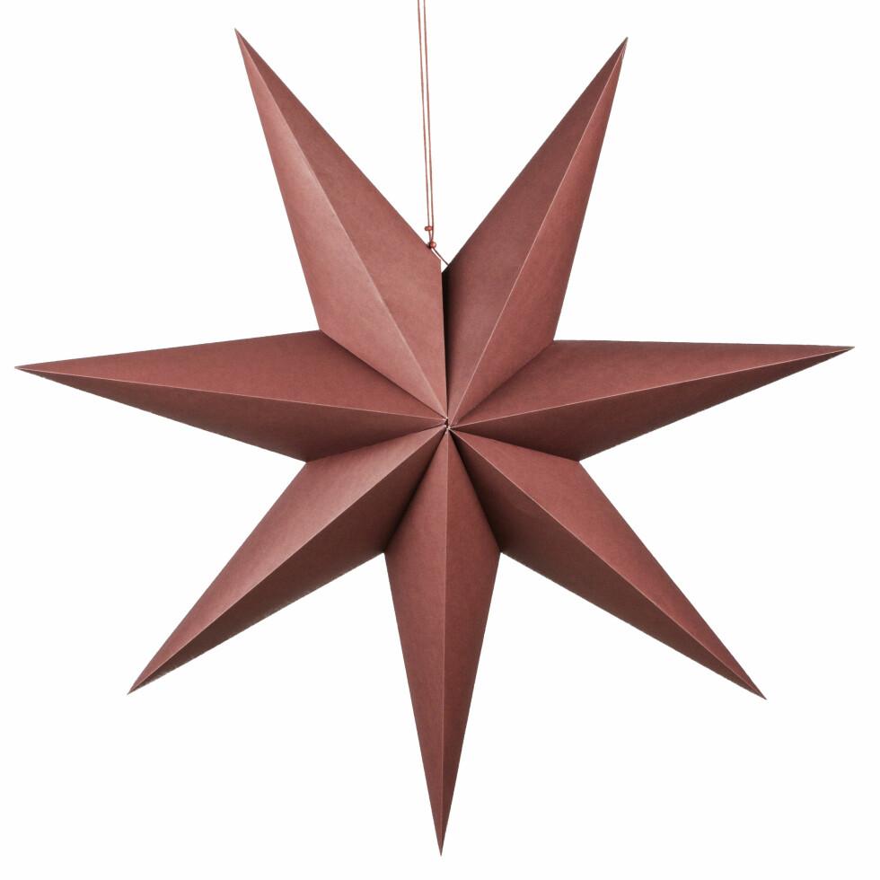 Papirstjerne fra Kremmerhuset  199,-  https://kremmerhuset.no/jul/julepynt/papirstjerne-ensfarget