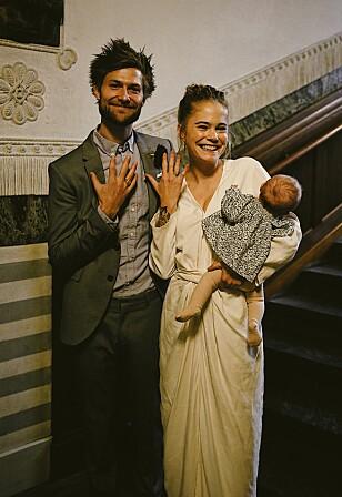 GIFTET SEG: 10. november giftet Christine og Rasmus seg, noen måneder etter at datteren ble født. FOTO: Privat