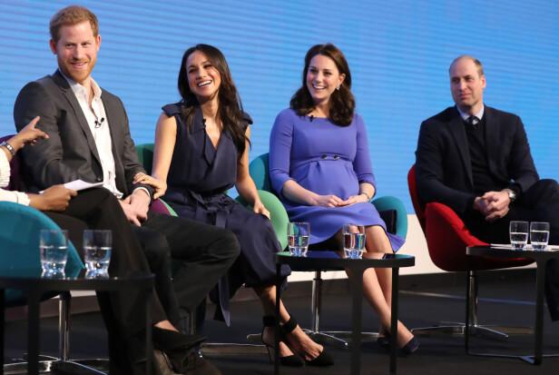 SAMMEN FOR FØRSTE GANG: Under veldedighetsarrangementet Royal Foundation Forum i London stilte prins Harry, forloveden Meghan Markle, hertuginne Kate og prins William opp offentlig sammen for aller første gang. FOTO: NTB Scanpix