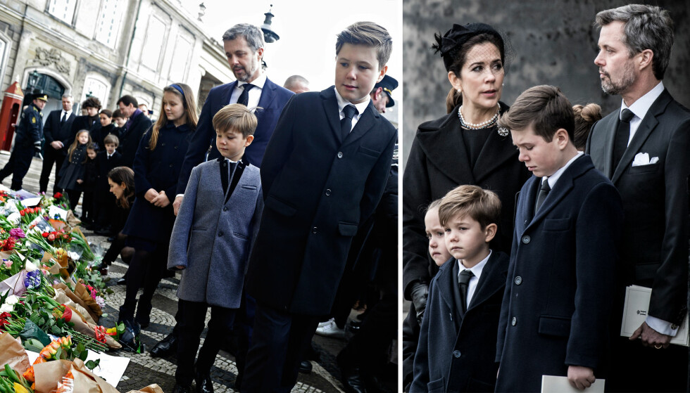 I SORG: Den danske kronprinsfamilien sørget over bestefar prins Henrik under begravelsen 20. februar. Her er Mary og Frederik med barna prins Christian, prins Vincent, prinsesse Josephine og prinsesse Isabella. FOTO: NTB Scanpix
