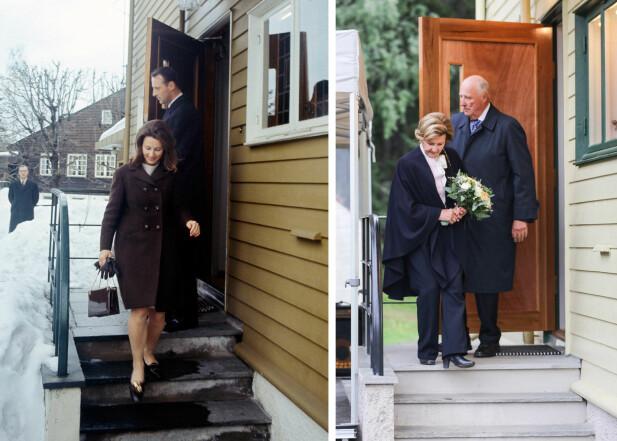 HISTORISK BILDE: Da forlovelsen ble kunngjort i mars 1968 ble daværende kronprins Harald og Sonja Haraldsen fotografert i det de forlot hennes hjem i Tuengen allé på Vindern i Oslo. I forbindelse med 50-årsmarkeringen ble det avholdt en åpning av dronning Sonjas barndomshjem på Maihaugen. Barndomshjemmet er nemlig restaurert og flyttet til Lillehammer. Åpningen fant sted 27. august 2018 – i forbindelse med kongeparets gullbryllupsdag to dager senere. FOTO: NTB Scanpix