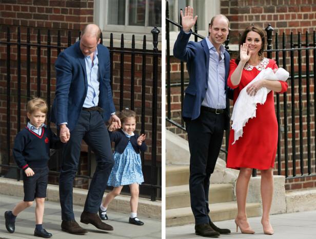 ET NYTT FAMILIEMEDLEM: Pappa prins William tok med seg barna prins George og prinsesse Charlotte for å hilse på lillebror prins Louis for aller første gang. Bare timer etter fødselen viste hertuginne Kate og prins William frem sitt tredje barn til folket som hadde samlet seg utenfor St Mary's hospital i London. FOTO: NTB Scanpix