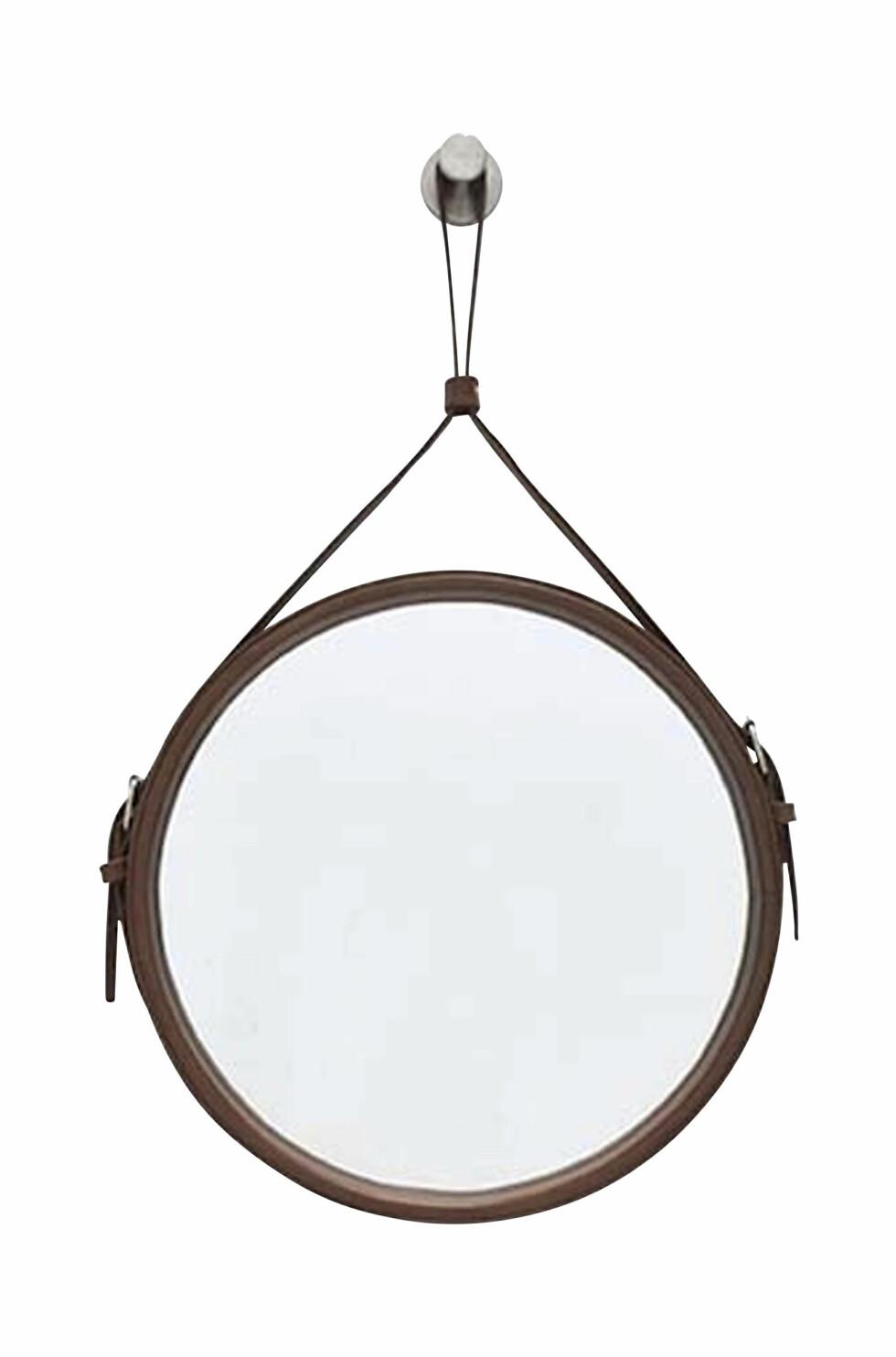 Speil med skinnstropp (kr 350, Ellos Home).