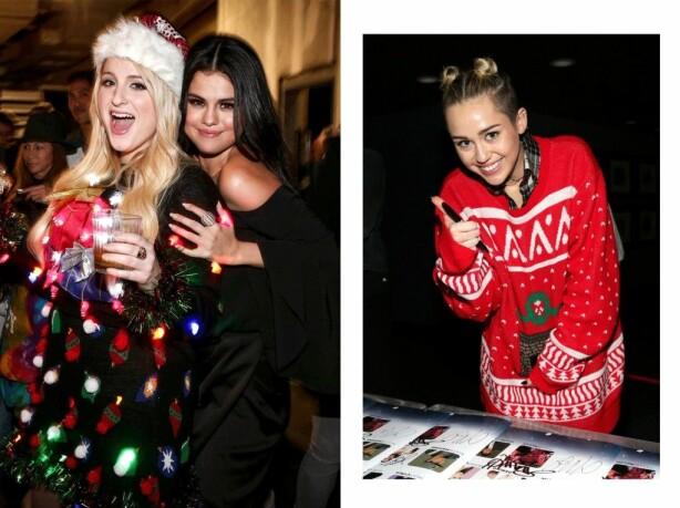 KJENDISENE ELSKER DEN: Meghan Trainor (t.v.) og Miley Cyrus (t.h.) har begge hver sin Ugly Christmas Sweater. Foto: Scanpix