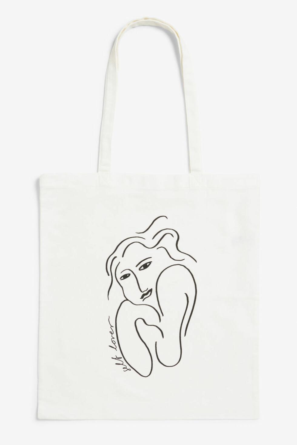 Tote fra Monki  80,-  https://www.monki.com/en_sek/accessories/view-all-accessories/product.tote-bag-self-lover.0517599026.html