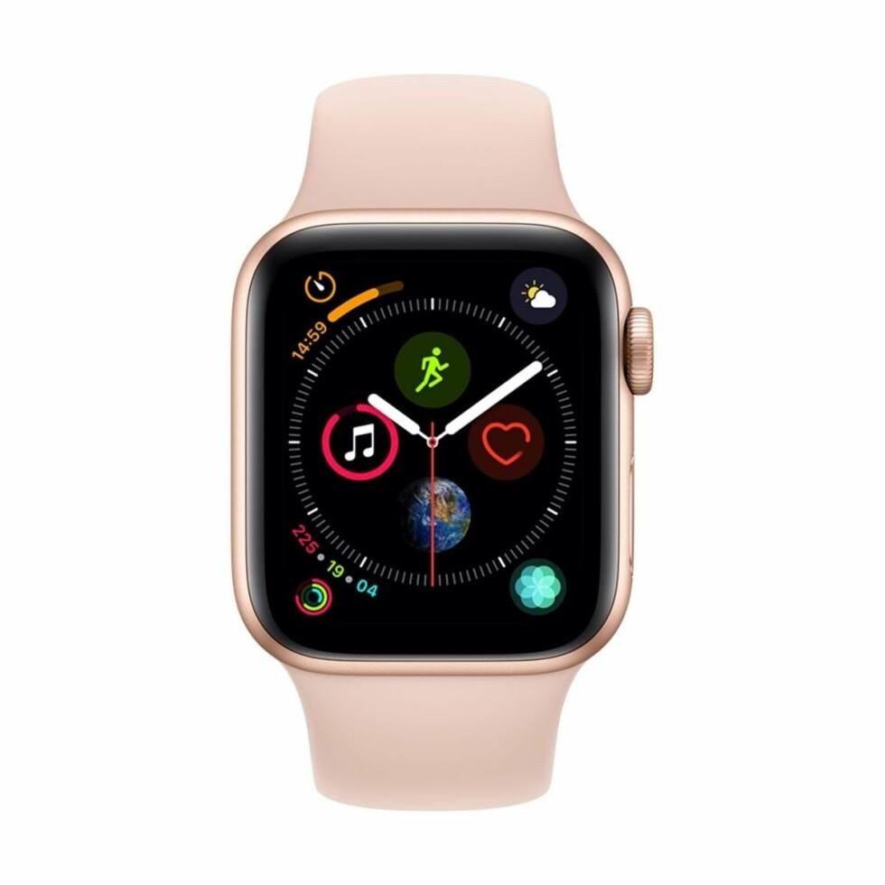 Apple Watch |5490,-| https://www.power.no/mobil-og-tilbehoer/smartklokke/apple-watch-s4-gps-4g-40mm-gld-alu-sport-pink/p-954720/