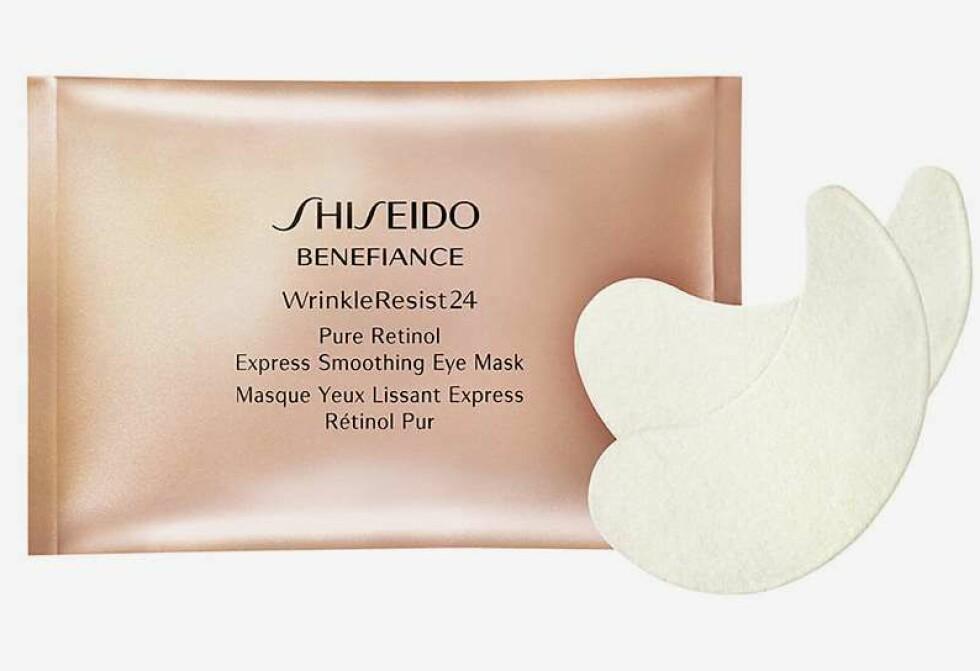 Eye mask fra Shiseido |695,-|https://www.kicks.no/hudpleie/ansiktspleie/ansiktsmaske/benefiance-wrinkle-resist-24-smoothing-eye-mask