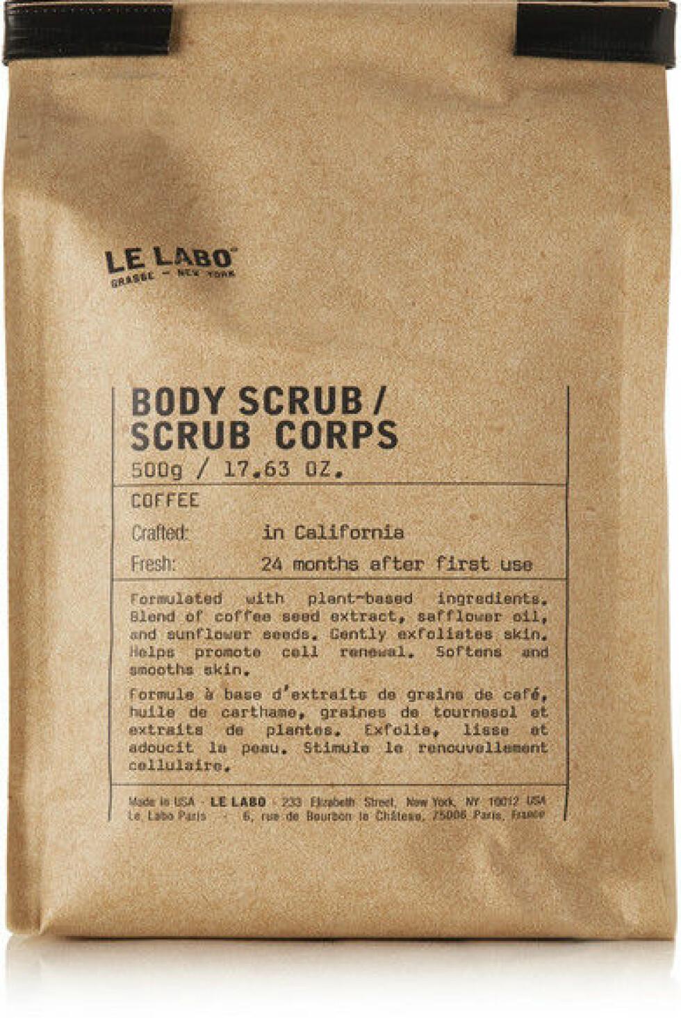 Skrubb fra Le Labo |407,-|https://www.net-a-porter.com/no/en/product/1057578/le_labo/coffee-body-scrub--500g