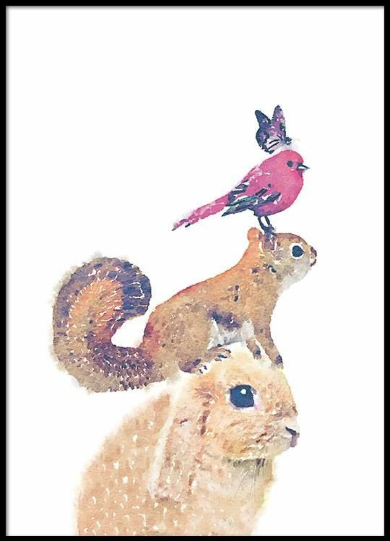 Plakat med dyr på fra Desenio |59,-| https://desenio.no/no/artiklar/dyr-barn-plakat.html