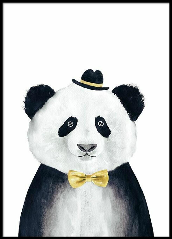 Plakat med panda på fra Desenio |59,-| https://desenio.no/no/artiklar/panda-with-hat-plakat.html