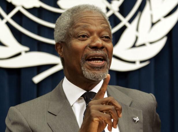 EN ENGASJERT MANN: Kofi Annan var en ghanesisk diplomat og generalsekretær i FN i perioden 1997–2006. I 2001 fikk han tildelt Nobels fredspris for FNs arbeid for fred i konflikter gjennom mer enn 50 år. FOTO: NTB Scanpix