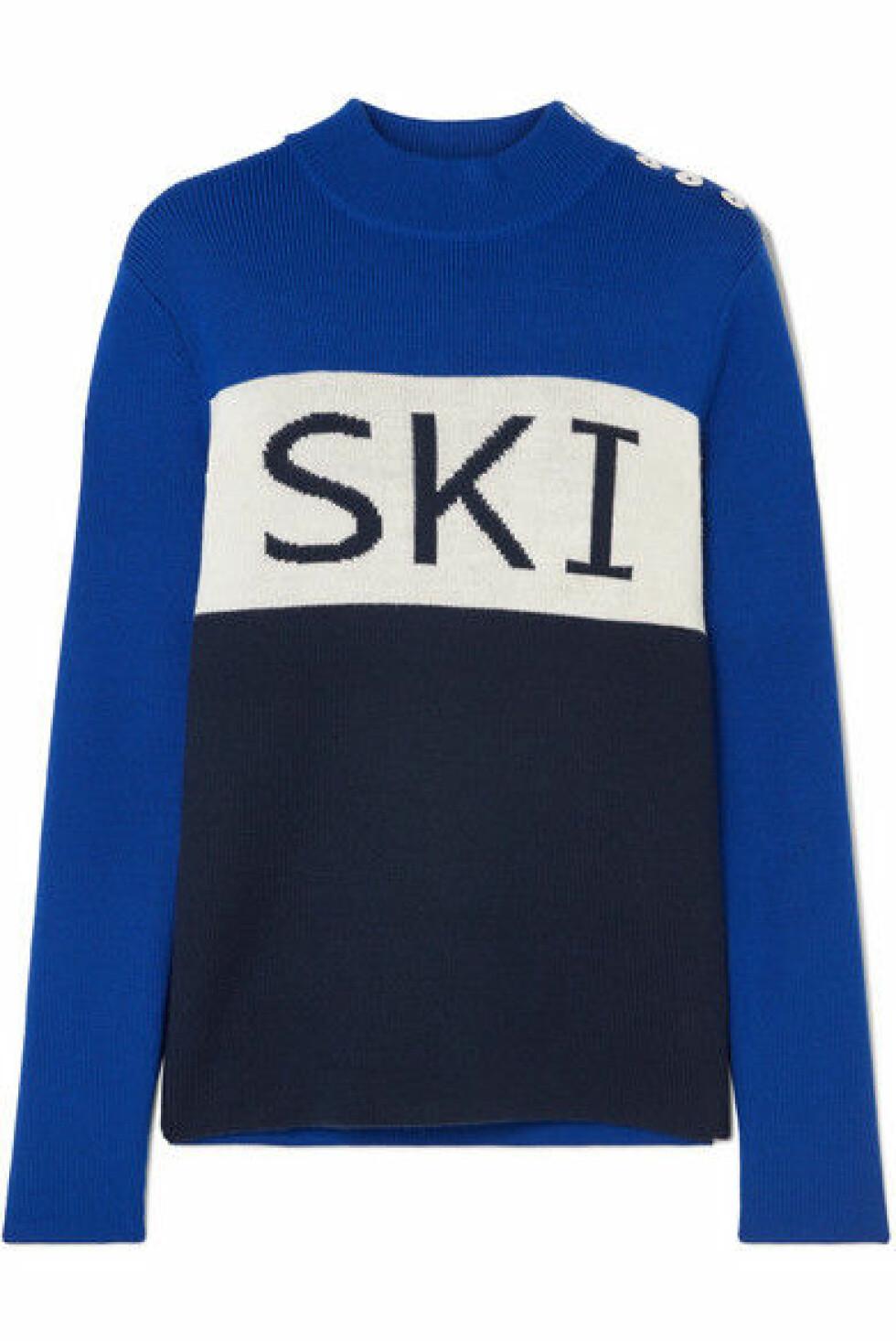 Genser fra Tory Sport |3000,-| https://www.net-a-porter.com/no/en/product/1066358/tory_sport/button-embellished-intarsia-merino-wool-blend-sweater