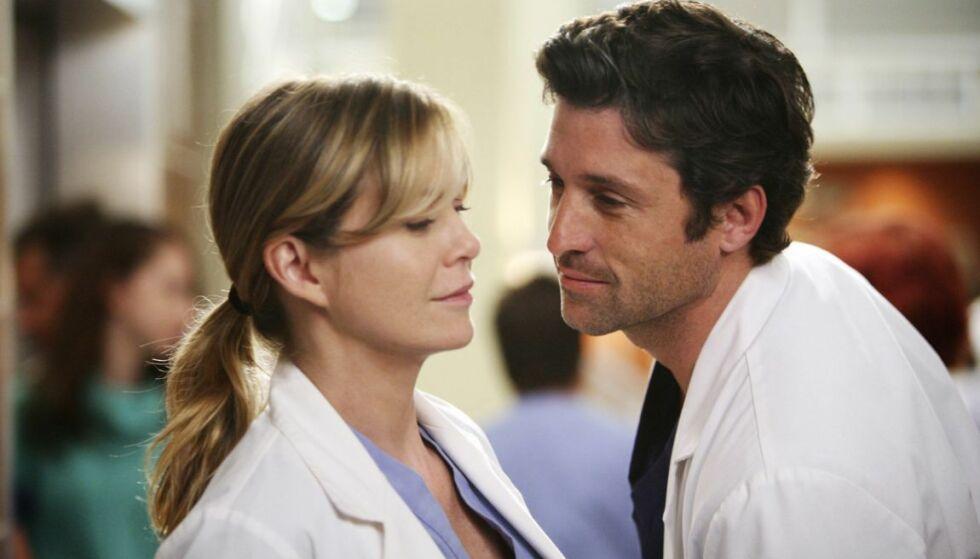 SPILTE EKTEPAR: Ellen Pompeo og Patrick Dempseys karakterer hadde en turbulent romanse i de første sesongene av «Grey's Anatomy», men ble etter hvert gift – før Patricks rollefigur døde tragisk i sesong 11. FOTO: ABC