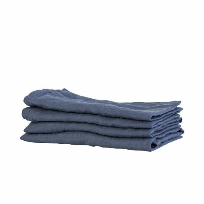 Serviettene «Washed Linen» i navy blue (kr 80, Tell Me More).