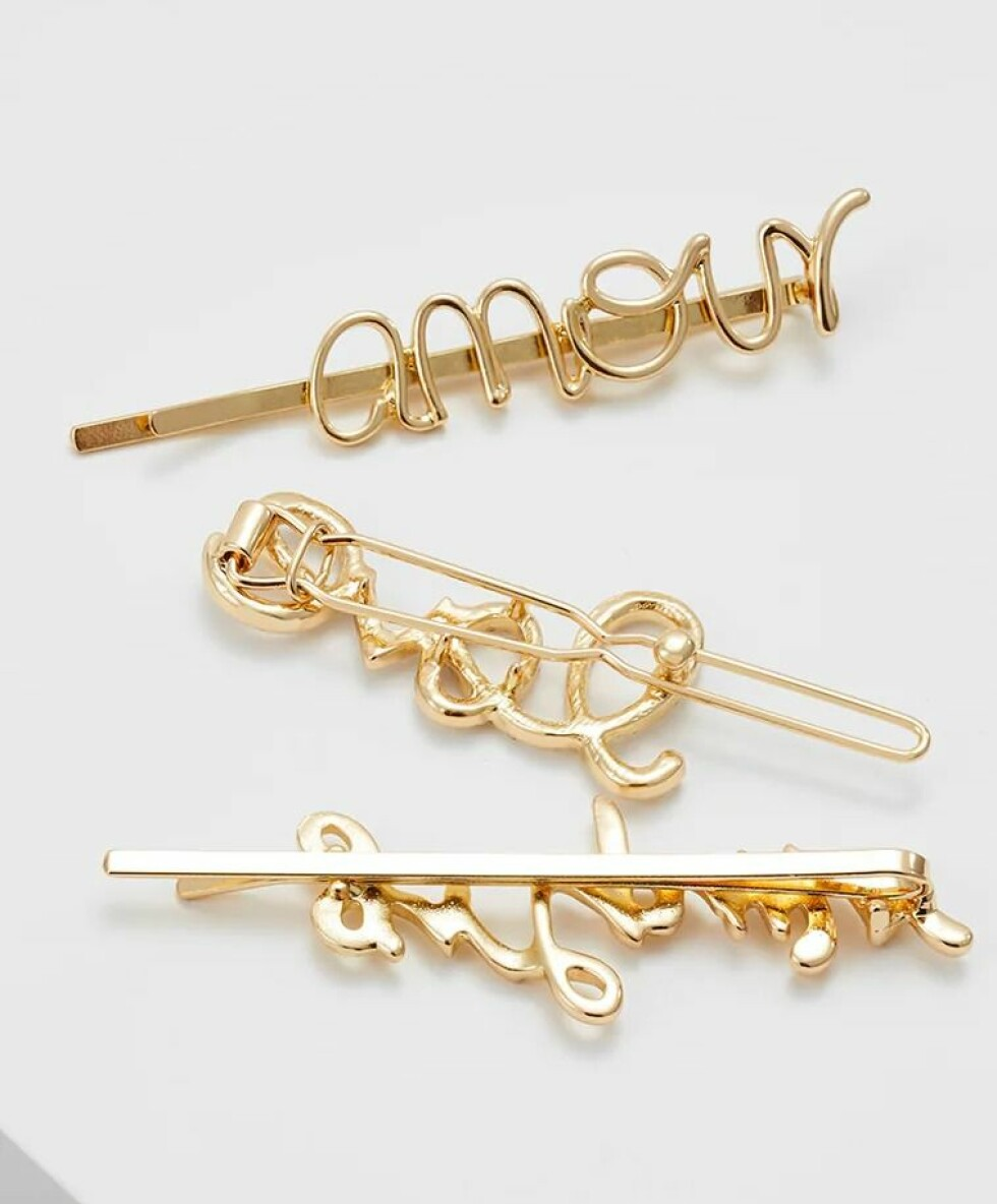 Pieces |149,-| https://www.zalando.no/pieces-pcsanne-hairclips-3-pack-hair-styling-accessory-gold-coloured-pe351l0d4-f11.html