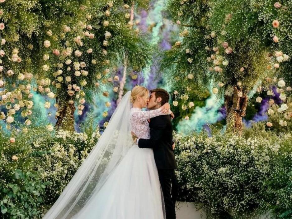 STORSLÅTT BRYLLUP: Bloggeren Chiara Ferragni var blant dem som giftet seg i 2018. Se bilder fra bryllupet lengre ned i saken. Foto: Skjermdump fra Instagram / @chiaraferragni