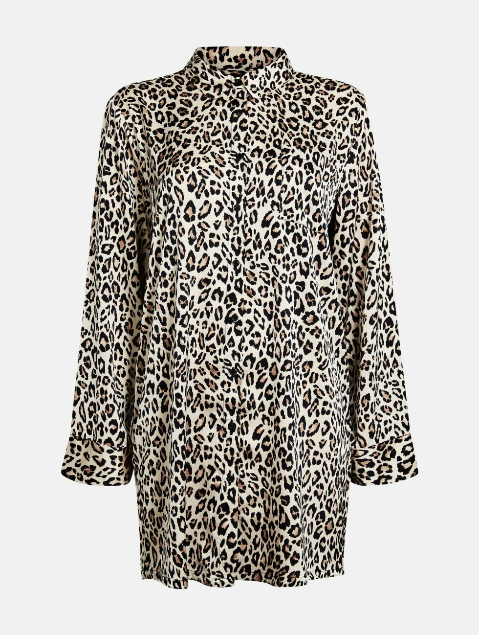 Nattskjorte fra Bik Bok |349,-| https://bikbok.com/no/p/nattoy/pyjamas/silky-night-shirt/7227494_F001
