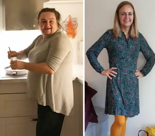 <strong>FØR OG ETTER FEDMEOPERASJON:</strong> På mitt tyngste veide jeg 109 kg, forteller Marte, som har gått ned 53 kg etter at hun ble fedmeoperert. FOTO: Privat