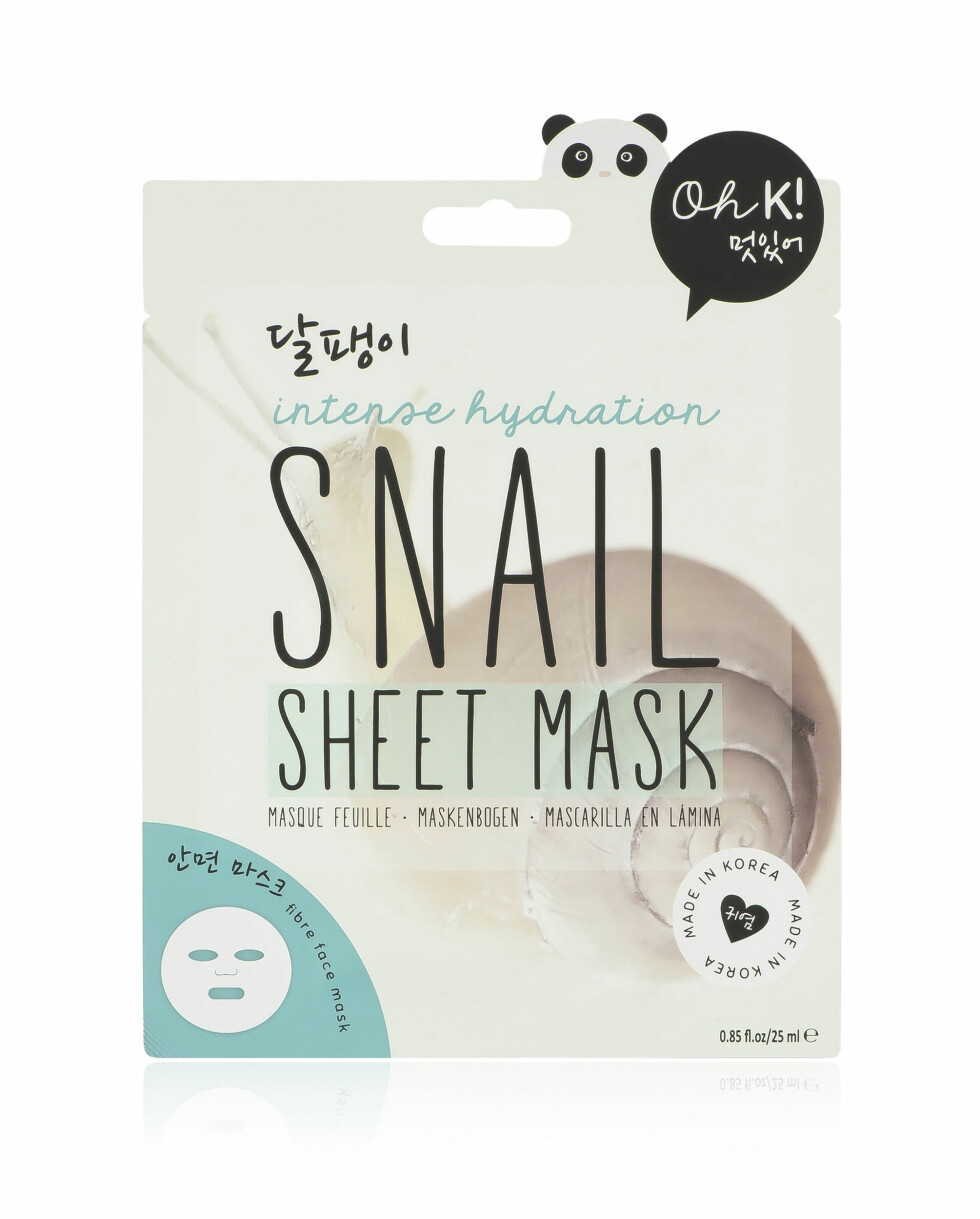 3. Med oppstrammende snegleslim (kr 80, Oh K!, Snail Sheet Mask).