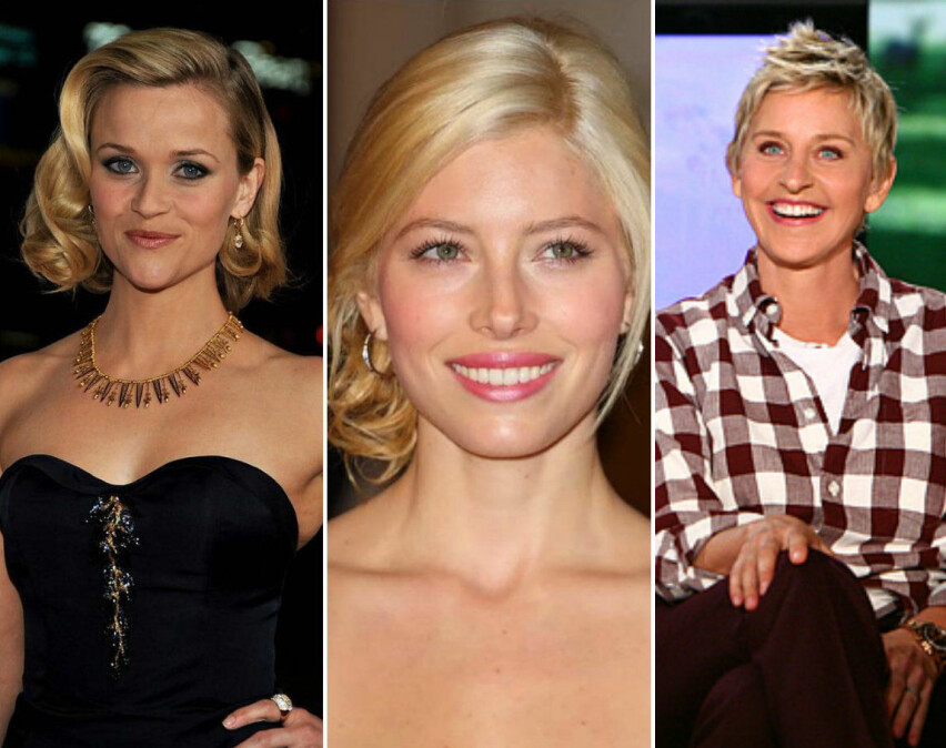 LIKE VAKRE: Reese Witherspoon, Jessica Biel og Ellen DeGeneres er blant dem som har delt gamle bilder av seg selv i forbindelse med #10yearchallenge på sosiale medier. FOTO: Instagram
