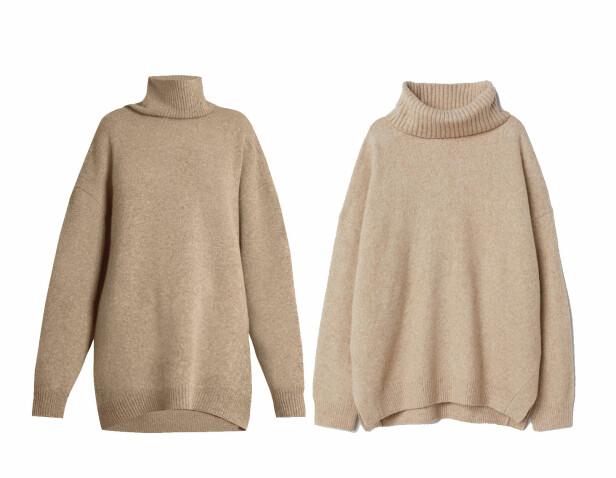 Genseren til venstre er fra Raey via Matchesfashion.com, kr 4795. Genseren til høyre er fra H&M, kr 299. Foto: Produsenten