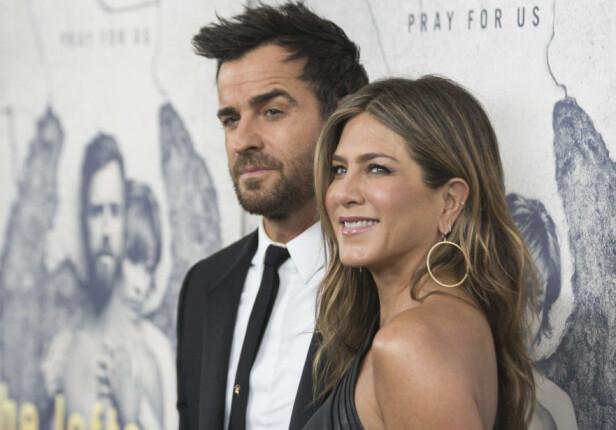 SKILTE LAG: Justin Theroux og Jennifer Aniston gikk fra hverandre etter tre år som ektepar. FOTO: Scanpix