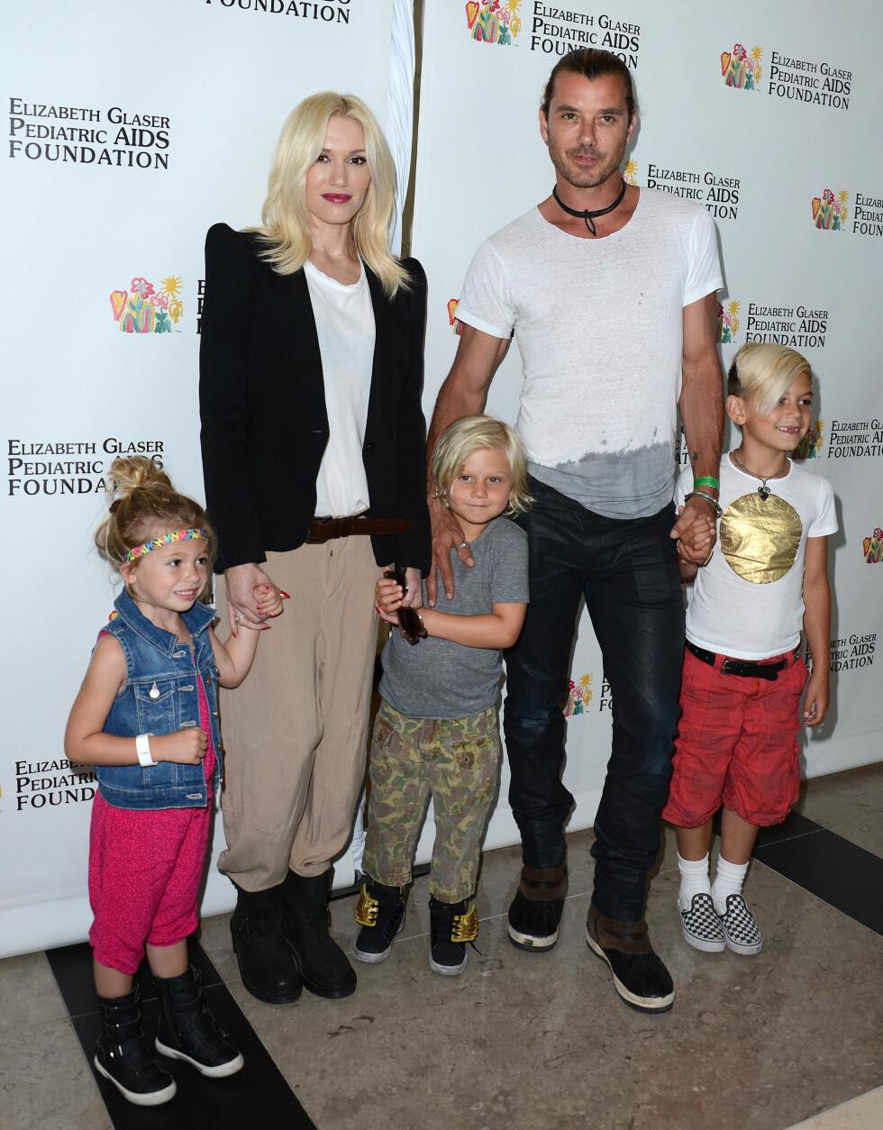Stefani sammen med barna og eks-mannen Gavin Rossdale i 2013. Foto: NTB Scanpix