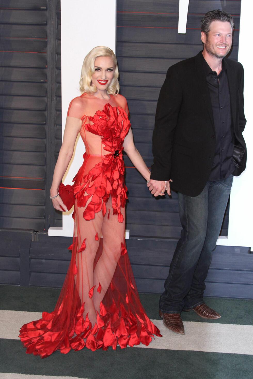 Gwen Stefani og Blake Shelton på Vanity Fair Oscar party i 2016. Foto: NTB Scanpix