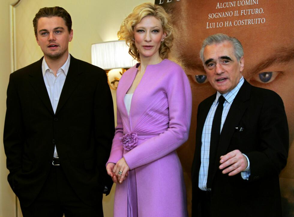 """Leonardo DiCaprio, Cate Blanchett og Martin Scorsese på lanseringen av filmen """"The Aviator"""" i 2005. Foto: NTB Scanpix"""