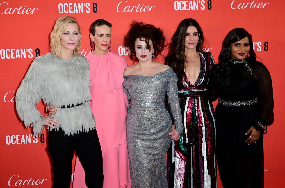 """Cate Blanchett sammen med noen av jentene fra filmen """"Ocean's eight"""". Foto: NTB Scanpix"""