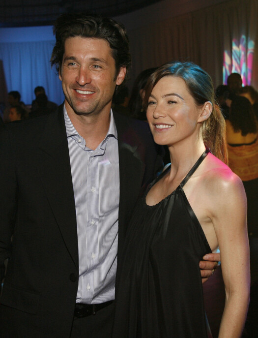 Ellen Pompeo sammen med Patrick Dempsey, på premieren av Grey's Anatomy sesong 2 i 2005. Foto: NTB Scanpix