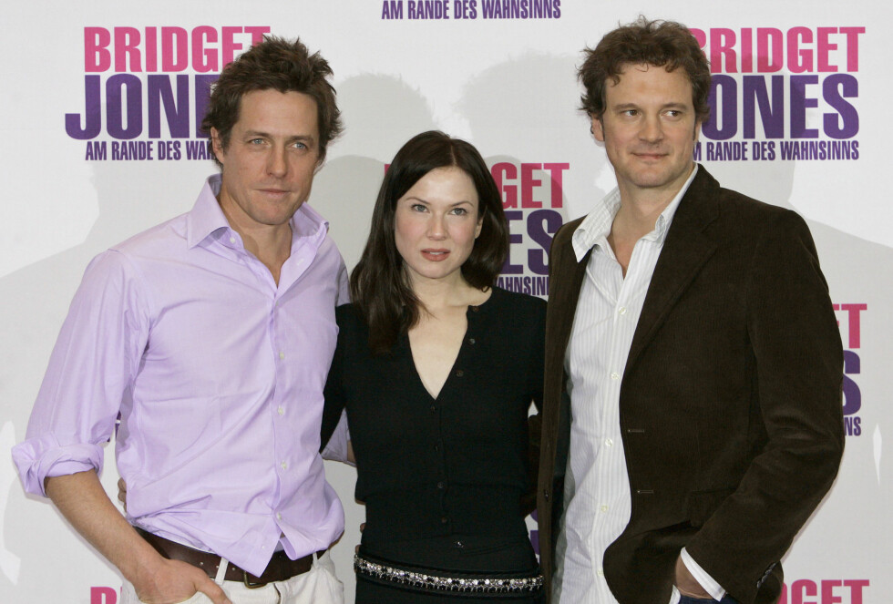 "Renee Zellweger, Hugh Grant og Colin Firth poserer under presentasjonen av deres nye film ""Bridget Jones The Edge of Reason"" i 2004. Foto: NTB Scanpix"
