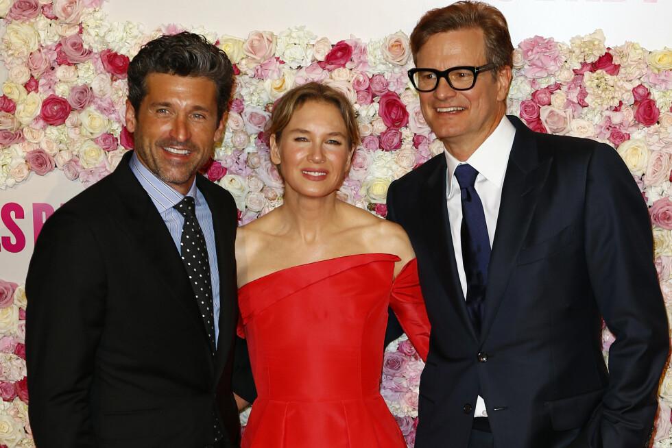 """Patrick Dempsey, Renee Zellweger og Colin Firth poserer for presentasjonen av deres film """"Bridget Jones's Baby"""" i 2016. Foto: NTB Scanpix"""