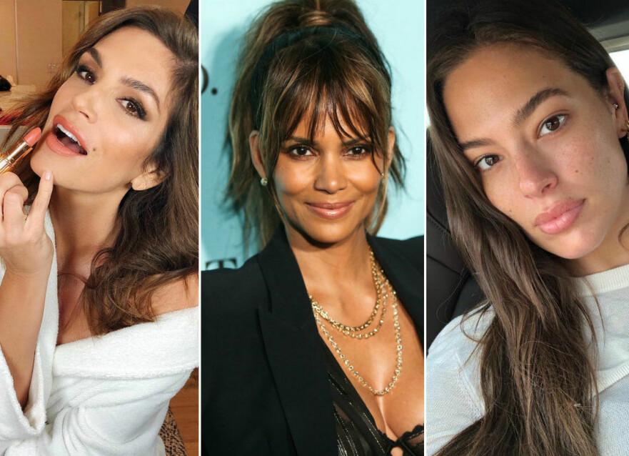 LETTER PÅ SLØRET: Vi har funnet frem Cindy Crawford, Halle Berry og Ashley Grahams – og to andre stjerner – sine skjønnhetshemmeligheter. FOTO: NTB Scanpix