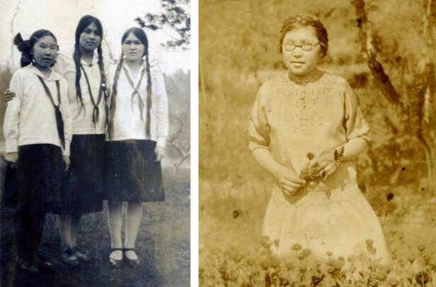 TENÅRINGER: På bildet til venstre er Nita og Camilla fotografert med kanadiske skoleuniformer, sammen med en ukjent skolevenninne. Til høyre er Nita blitt tenåring. FOTO: Privat // Utlånt av Alexander Wisting