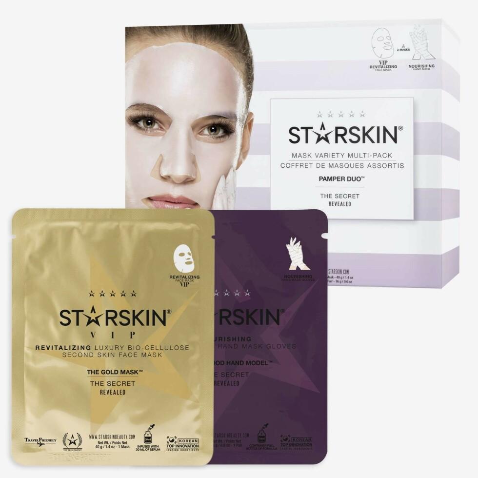 Ansiktsmasker fra Starskin |175,-| https://www.kicks.no/hudpleie/gavetips/pamper-duo-pack-giftbox