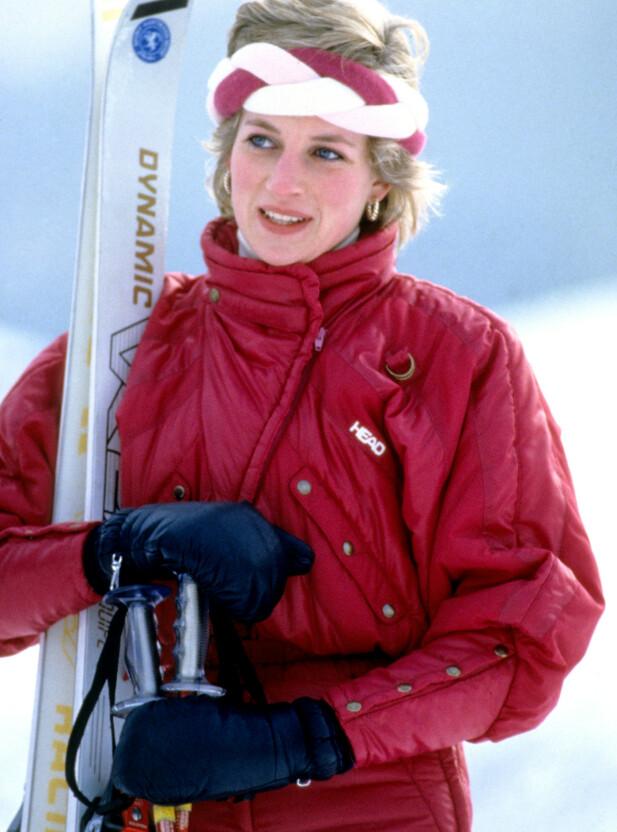 STILIKON: Prinsesse Diana var et stort stilikon gjennom sin tid, og det var ikke bare på de store arrangementene, også i skibakken. FOTO: NTB Scanpix