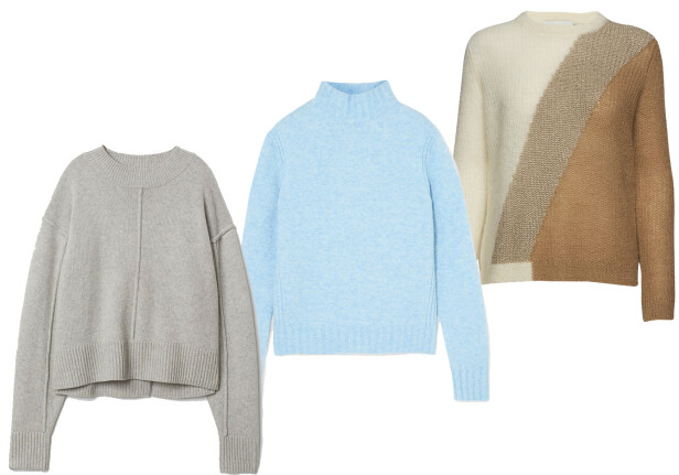 Fra venstre: Genser fra H&M, kr 600. Genser fra J. Crew via Net-a-porter.com, kr 1000. Genser fra Munthe via Boozt.com, kr 2000.