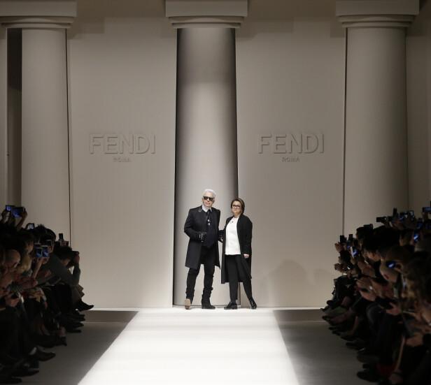 SAMARBEIDET: Karl Lagerfeld og Silvia Venturini Fendi. Foto: Scanpix