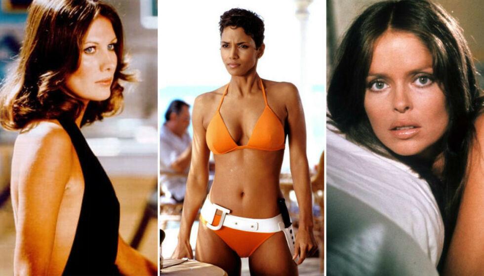 PÅ SKJERMEN: Maud Adams, Halle Berry og Barbara Bach er blant kvinnene som har dukket opp i James Bond-filmer gjennom årene. FOTO: Skjermdump