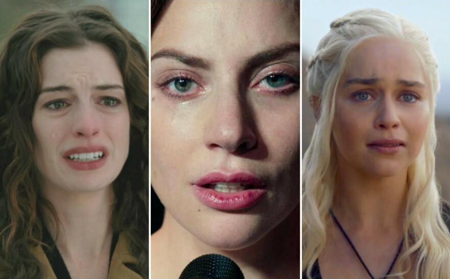 TALENT OG TRIKS: Noen skuespillere kan presse frem tårer for egen maskin, mens andre trenger hjelpemidler. Mon tro hvilke kategori Anne Hathaway (t. v.), Lady Gaga og Emilia Clarke faller under? FOTO: YouTube