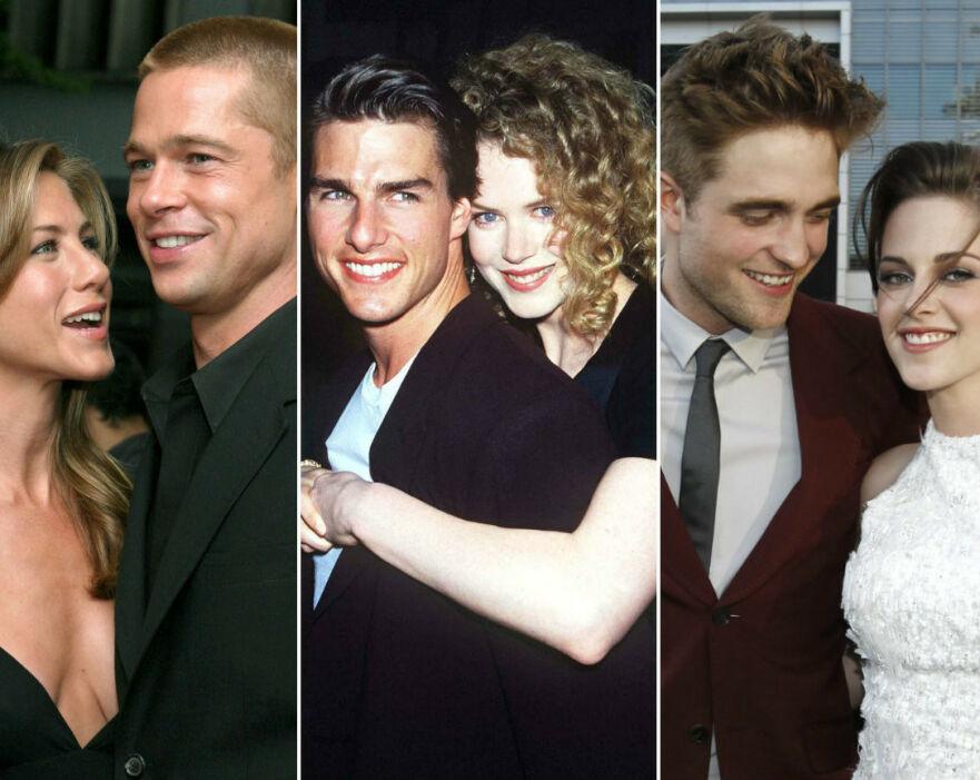 EKSPLOSIVT: Jennifer Aniston og Brad Pitt, Tom Cruise og Nicole Kidman, og Robert Pattinson og Kristen Stewart er blant stjerneparene som hadde et alt annet enn et vennskapelig brudd... FOTO: NTB Scanpix